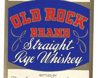 Illinois Rye Old Rock Whiskey Vintage Label, 1930's