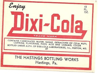 Dixi-Cola Vintage Label, 1950's