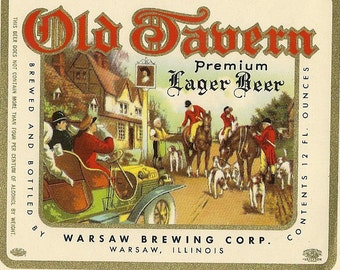 Old Tavern Premium Vintage Beer Label, 1950's