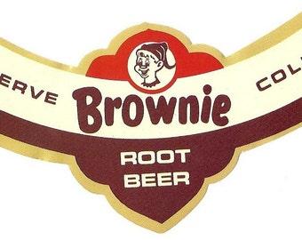 Brownie Root Beer Vintage Bottle Neck Label, 1960's