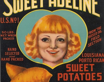 Sweet Adeline Crate Label, 1930's