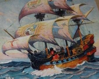 Painted Sails Clipper Ship Vintage Large Art Print, 1930's