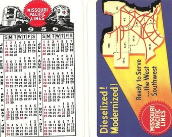 Dieselized Modernized Missouri Pacific Vintage Pocket Calendar, 1956