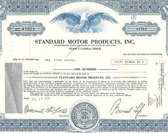 Standard Motor Products Vintage Original Stock Certificate, 1960's-70's