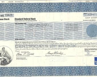 Standard Federal Bank Vintage Original Stock Certificate,1980's