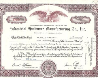 Industrial Hardware Manufacturing Vintage Original Stock Certificate, 1950's