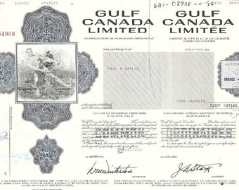 Gulf Canada Limited Vintage Original Stock Certificate, 1970-80's