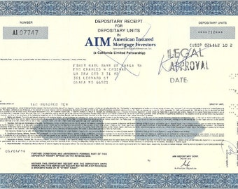 American Insured Mortgage Investors Vintage Original Stock Certificate, 1980's