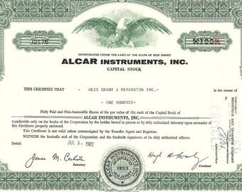 ALCAR Instruments Vintage Original Stock Certificate, 1960's