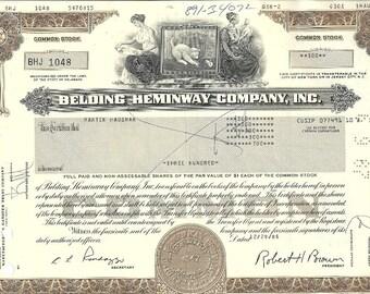 Belding Heminway Vintage Original Stock Certificate (brown), 1980-90's