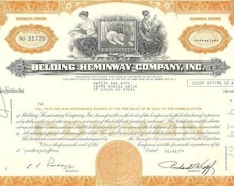 Belding Heminway Vintage Original Stock Certificate (orange), 1970-80s