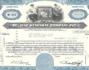 Belding Heminway Company Vintage Original Stock Certificate (blue), 1970s