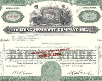 Belding Heminway Vintage Original Capital Stock Certificate (green), 1960s