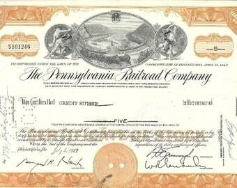 Pennsylvania Railroad Original Stock Certificate (orange), 1960s