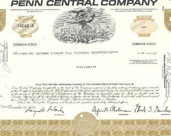Penn Central Vintage Originial Stock Certificate (brown), 1970's