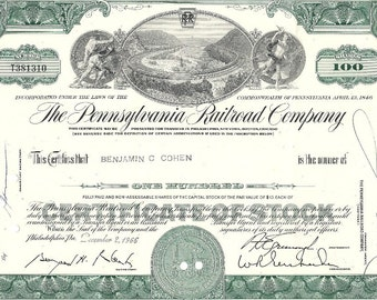 Pennsylvania Railroad Vintage Original Stock Certificate (green), 100 Shares,1960's