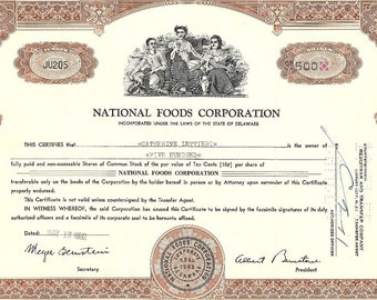 National Foods Corporation Vintage Original Stock Certificate (brown) over 100 shares, 1950's