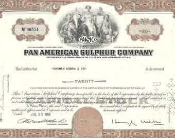 Pan American Sulphur Company Vintage Original Stock Certificate (brown), 1960's