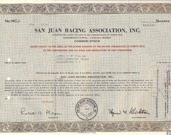 San Juan Racing Vintage Original Stock Certificate (brown), 1960's