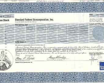Standard Federal Bank Vintage Stock Certificate (blue), 1990s
