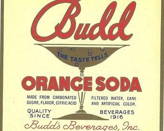 Budd Orange Soda Label, 1930s