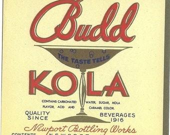 Budd Kola Soda Label, 1930s
