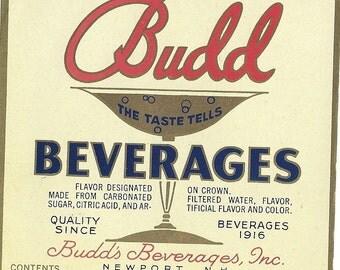 Budd Vintage Beverage Label, 1930s