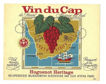 South Africa Vin du Cap Huguenot Heritage Wine Label