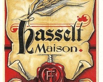 Hasselt Maison European Vintage Wine Label, 1940s