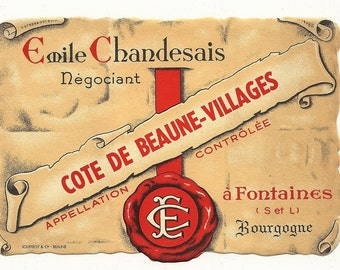 Cote de Beaune-Villages Vintage Wine Label, 1940s