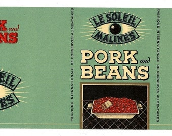 Le Soleil Malines Pork and Beans Vintage Can Label, 1940s