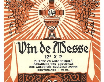 Vin de Messe Vintage Wine Label (orange), 1930s