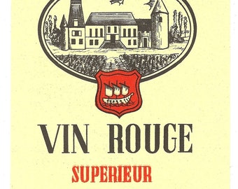 Vin Rouge Superieur Vintage Wine Label, 1940s