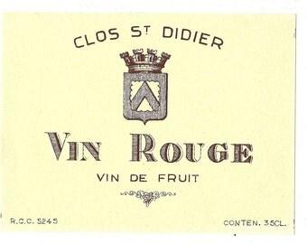Clos St. Didier Vin Rouge Vintage Wine Label, 1950s