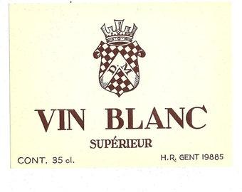 Vin Blanc Superieur Vintage Wine Label, 1950s