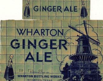 Wharton Ginger Ale Bottle and Neck Vintage Soda Label, 1940s
