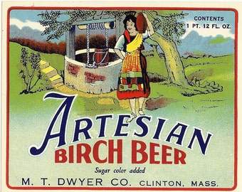 Artesian Birch Beer Vintage Soda Label, 1950s
