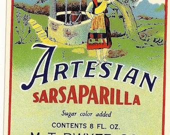 Artesian Sarsaparilla Soda Label