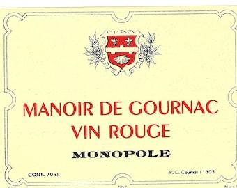 Manoir de Gournac Vin Rouge Vintage Red Wine Label, 1930s