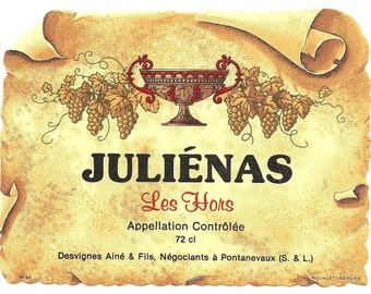 Julienas Les Hors Vintage Wine Label, 1940s