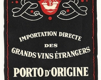 Porto D'Origine Vieux Port Wine Vintage Label, 1940s