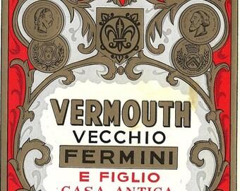 Fermini Vermouth Vintage Label, 1950s