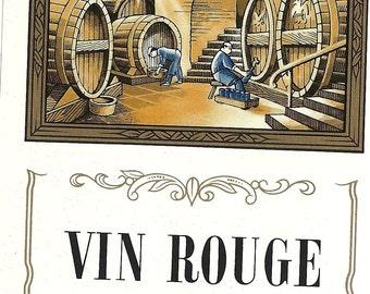 Wine Casks in the Cellar Vin Rouge Wine Label