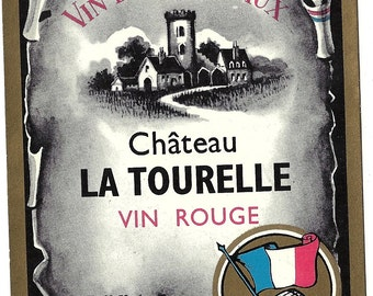 Chateau La Tourelle Vin Rouge Vintage Wine Label, 1930s