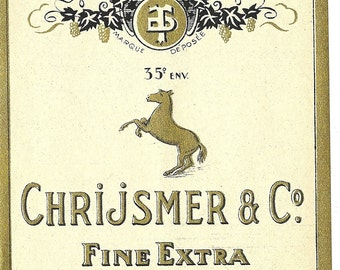 Chrijsmer and Co. Fine Extra Spiritueux Vintage Label, 1930s