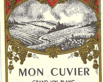 Mon Cuvier Grand Vin Blanc Vintage Wine Label, 1930s