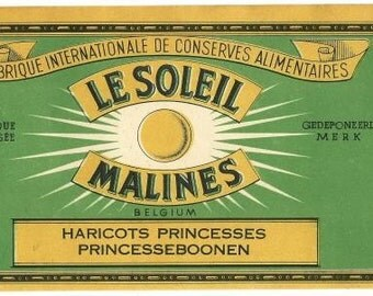 Le Soleil Haricots Princesses (Green Bean) Vintage Can Label, 1940s