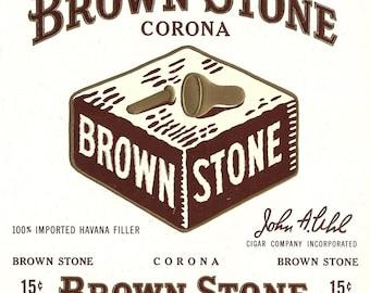 Brown Stone Corona Vintage Cigar Label, 1930s