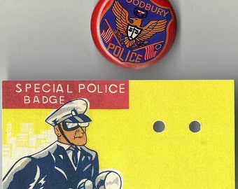 Woodbury Police Vintage Toy Tin Lithograph Police Badge, 1960s