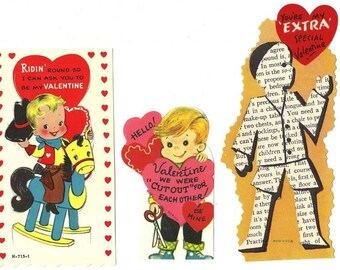 Valentine Wishes from Little Boys Vintage Valentine Cards, Set of 3